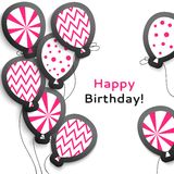 Happy birthday postcard with balloons Royalty Free Stock Photos