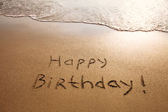 Happy birthday. Postcard on the beach royalty free stock images