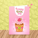 Happy Birthday postcard with a beautiful cupcake. Stock Photo