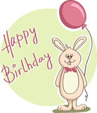 Happy birthday postcard with bunny - Vector Royalty Free Stock Photography