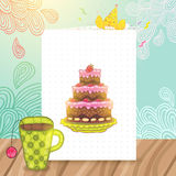 Happy Birthday postcard with cake and cup of tea. Royalty Free Stock Photo