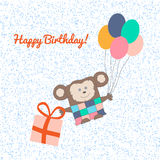 Happy Birthday Postcard with Flying Monkey Royalty Free Stock Photo