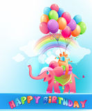 Happy birthday postcard with pink elephant Stock Images