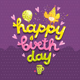 Happy Birthday postcard with tea cup and bird. Royalty Free Stock Photography