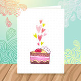 Happy Birthday postcard template with cake Royalty Free Stock Photography