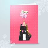 Happy Birthday postcard template with a cat. Stock Photography