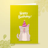 Happy Birthday postcard template with a dog. Stock Photography