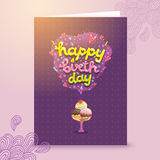 Happy Birthday postcard template with ice cream . Royalty Free Stock Photo