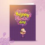 Happy Birthday postcard template with ice cream . Royalty Free Stock Photo