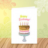 Happy Birthday postcard template withcake Stock Image