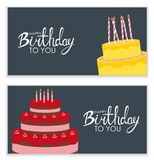Happy Birthday Poster Background with Cake. Vector Illustration Royalty Free Stock Photography