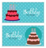 Happy Birthday Poster Background with Cake. Vector Illustration Stock Images