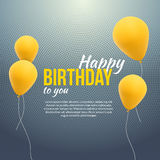 Happy Birthday Poster. Background with yellow balloons and text. Happy birthday invitation template banner, flyer Stock Images