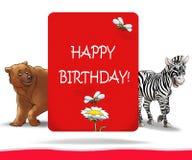 Kids Happy Birthday. Poster with cartoon animals on white background. illustration, hand drawn royalty free illustration