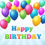 Happy birthday poster with colorful balloons Stock Photo