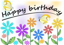Happy birthday poster with colorful flowers and butterflies Royalty Free Stock Images