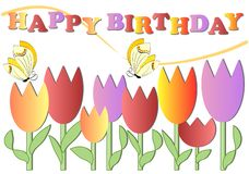 Happy birthday poster with colorful flowers and butterflies, eps 10 vector Royalty Free Stock Image