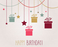 Happy Birthday poster. Hanging colorful gift Royalty Free Stock Photos