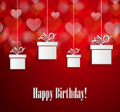 Happy Birthday poster with hanging gift Stock Photo