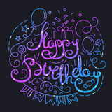 Happy Birthday Poster with Lettering and Space Texture. Stock Photos