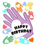 Happy birthday poster with multicolored heart on palm motif Stock Image