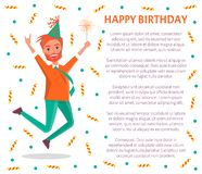 Happy Birthday Poster, Redhead Bearded Man Jump. Happy birthday poster, redhead bearded man merrily jump on party. Male cartoon character in festive hat and vector illustration