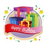 Happy birthday present box label. Additional file in eps 10 Stock Photo