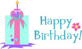 Happy Birthday Present and Candle Royalty Free Stock Photos