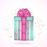 Happy Birthday present gift box with confetti. Stock Images