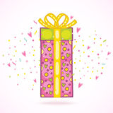 Happy Birthday present gift box with confetti. Stock Image