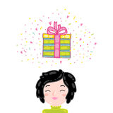 Happy Birthday present gift box with confetti. Stock Photo