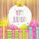 Happy Birthday present gift box with confetti. Stock Image