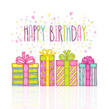 Happy Birthday present gift box with confetti. Vector holiday background Royalty Free Stock Image