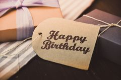Happy Birthday present gift hipster vintage man. Table royalty free stock photos