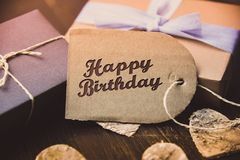 Happy Birthday present gift hipster vintage man. Table royalty free stock photography