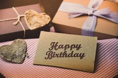 Happy Birthday present gift hipster vintage man. Table stock photos