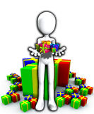 Happy Birthday Presents. Blank faced figure holding up birthday presents and gifts Royalty Free Stock Photo