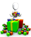 Happy Birthday Presents. Blank faced figure holding up birthday presents and gifts Stock Image