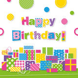 Happy birthday presents greeting card Royalty Free Stock Image