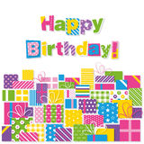 Happy birthday presents greeting card. Illustration of decorated presents with colorful happy birthday text on white background Royalty Free Stock Images