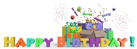 Happy birthday presents. An illustration of colored presents for your birthday Stock Photo