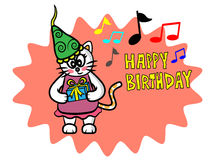 Happy birthday pretty cat Stock Image