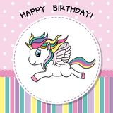 Happy Birthday. Pretty unicorn card. Happy birthday card. Pretty unicorn flying. vector isolated stock illustration