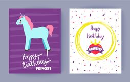 Happy Birthday, Princess Bright Colorful Banner. Vector illustration with text sample isolated in yellow circle, pretty blue horse with cute horn Royalty Free Stock Images