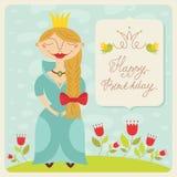 Happy birthday princess card Stock Photos