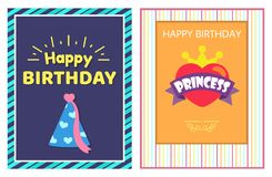 Happy Birthday Princess Cards Vector Illustration. With striped multicolored frames, festive cone with pink ribbon and hearts, bright golden crown Stock Images