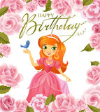 Happy Birthday, Princess, greeting card. Royalty Free Stock Images