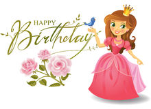 Happy Birthday, Princess, greeting card. Royalty Free Stock Image