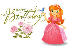 Happy Birthday, Princess, greeting card. Stock Images