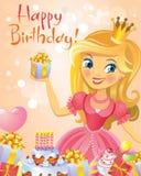Happy Birthday, Princess, greeting card Royalty Free Stock Photos